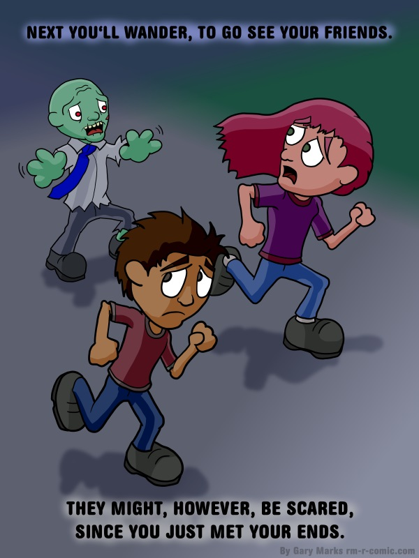 Remove R Comic (aka rm -r comic), by Gary Marks: It's hard being a zombie, 6 of 8
